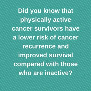 Did you know that physically active cancer survivors have a lower risk of cancer recurrence and improved survival compared with those who are inactive_